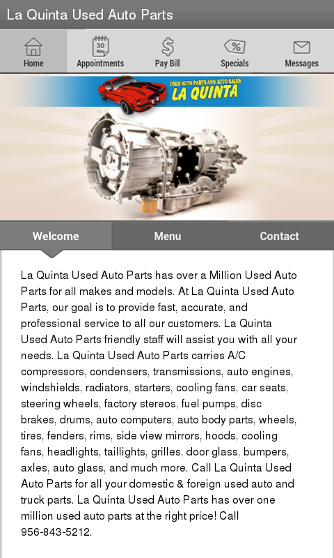 La Quinta Used Auto Parts's android app home screen