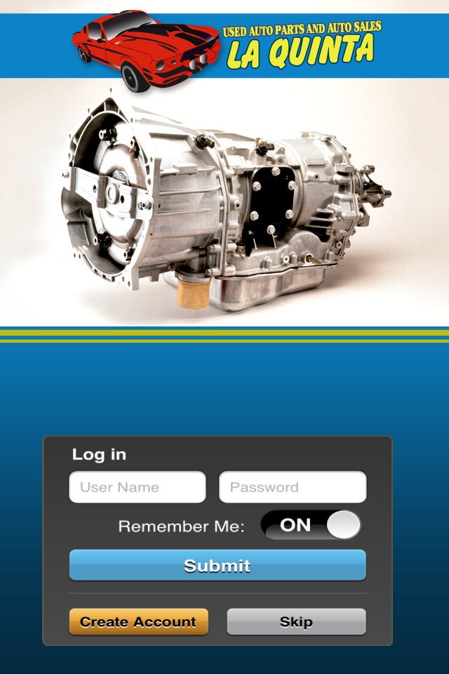 La Quinta Used Auto Parts's apple app login screen